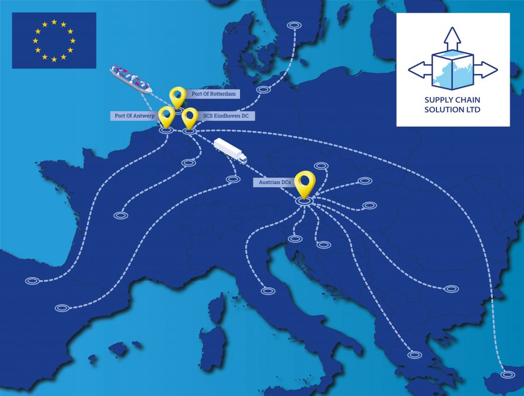 Map of Europe with Supply Chain routes