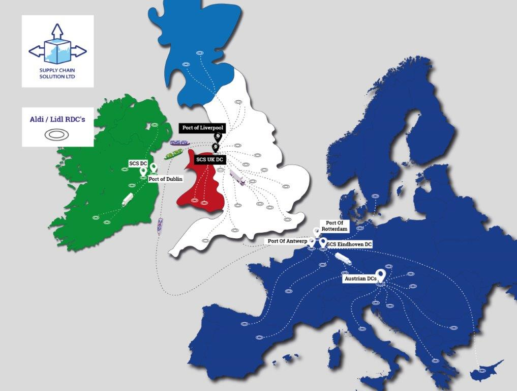The image displays the UK, Ireland and Europe, with logistic supply lines.